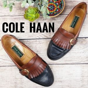 Cole Haan Kiltie Loafer Men's 8.5 Two Tone Leather